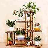 Malayas®Blumenregal Blumen Rack aus Massivholz mit 6 Pflanzentreppe für Innen-Balkon Wohzimmer Outdoor Garten Dekor Blumenständer 96x95x25Cm