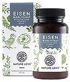 NATURE LOVE Eisen - 40mg Eisen + 40mg natürliches Vitamin C (Acerola) je Tablette. 120 Stück (4 Monate), bioverfügbares Eisen-Bisglycinat. Laborgeprüft, vegan, hochdosiert, hergestellt in Deutschland
