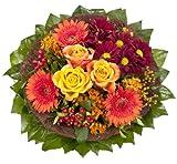 Dominik Blumen und Pflanzen, Blumenstrauß  'Füllhorn' mit orangen Rosen und Germini