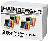 20 Druckerpatronen mit Chip für Canon Pixma IP-4200, IP-4300, IP-5200, IP-4500, IP-5200R, IP-5300, MP-500, MP-510, MP-530, MP-600, MP-600R, MP-800, MP-800R, MP-810, MP-830, ersetzt PGI-5 und CLI-8