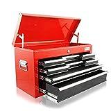 Werkzeugkasten mit 8 Schubladen und 1 Deckelfach - Rot / Schwarz