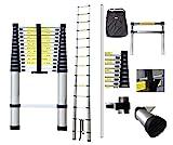 Todeco - Teleskopleiter, Klappleiter - Maximale Belastbarkeit: 150 kg - Material: Aluminiumlegierung - 4,1 Meter, GRATIS Tragetasche, EN 131