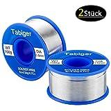 2 Stück Lötzinn (Lötzinn 1mm und lötzinn 0.8mm) Tabiger Bleifreies Lötdraht mit Kolophonium Kern 97Sn-2Rosin-0.7Cu-0.3Ag, 100g/ Stück Elektronik Lötzinn Solder Wire