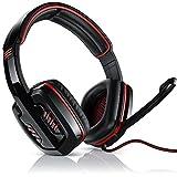 CSL - 7.1 USB Gaming Headset inkl. externer Soundkarte   Virtual 7.1 Surround Sound   PC Komfort Gamingheadset  Kabelfernbedienung   Farbe: schwarz/rot