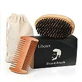 Liberex Bartbürste und Bartkamm Set - für Männer Bartpflege, mit 100% Naturharr Wildschweinborsten und Zweiseitiger Kamm für Verschiedene Bartdesigns und Frisuren, Antistatisch und Tragbar