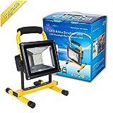 Roilois 20W LED Akku Lampe Strahler Baustrahler, mit 2 Lichtstärke Stufen und erhöhter Akku Kapazität bis zu 8 Stunden leuchten IP65 Wasserdicht(gelb)