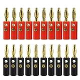KEESIN 10 Paare Bananenstecker-Gold überzogener 4mm Audiolautsprecher-Draht-Kabel-Verbindungsstück