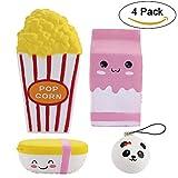 4 PCS Jumbo Squishies Popcorn-Schale / rosafarbene Milch-Kasten-Karikatur / Nahrung Reis / Minipandacharme Langsame steigende Squishies parfümierte Spielwaren Kawaii Squishy