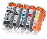 5 Druckerpatronen mit Chip und Füllstandsanzeige kompatibel zu Canon PGI-520 / CLI-521 passend für Canon Pixma IP-3600 IP-4600 IP-4700 MP-540 MP-550 MP-560 MP-620 MP-630 MP-640 MX-860 MX-870