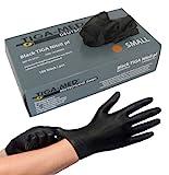 Nitrilhandschuhe puderfrei schwarz black Tiga 100 Stück Größe: Medium Einmalhandschuhe Nitril Einweg- Handschuhe ohne Latex