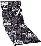 beo Gartenstuhlauflagen Saumauflage für Rolliegen, circa 190 x 58 x 6 cm, schwarz mit weißen Blüten