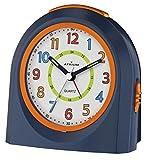 ATRIUM Wecker analog blau / orange ohne Ticken mit Licht und Snooze, Schlummerfunktion Quarz-Wecker...