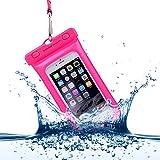 Power Theory Wasserfeste Handyhülle - Wasserdichte Handytasche Handyschutz Cover Beutel Beachbag Tasche Handy Hülle Waterproof Case für iPhone X 8 7 6 & Samsung S9 S8 S7 Edge Handys bis 6 Zoll (Pink