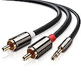 UGREEN 3m Stereo 3.5mm Klinke auf 2 Cinch Y Splitter Chinch Kabel Audiokabel Klinkenkabel mit Winzigem Metallstecker