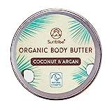Suntribe Bio-Körperbutter KOKOS & ARGAN - 100% Bio - 3 Inhaltsstoffe - Natürlicher Kokosduft - Pflegend & Feuchtigkeitsspendend - Body Butter - Parfümfrei (150ml)