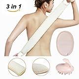Luffaschwamm-Set mit Luffa-Rückengurt und Seifentasche, Luffa-Handschrubber für Dusche und Bad für Schultern, Hüften, Gesicht und einer Silikon Massagebürste zur Massage und zum Haare kämmen