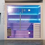 Sauna PS 1406', weißes Pinienholz, Design Sauna, Wärmekabine, Sauna, Saunakabine