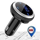 CHGeek Bluetooth FM Transmitter 5V/2.1A KFZ Auto Lokalisierer Wireless mp3 Player Audio Radio Adapter freisprecheinrichtung mit 2 USB Ladegerät, LED Anzeige für iOS und Android Geräte (Silber)