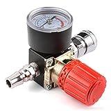 Druckregler Druckminderer, Preciva Druckregelventil Druckschalter Regelventil Druckschaltventil mit Manometer 1/4' 175 PSI für Luftverdichter, Luftkompressor - 4 Löcher