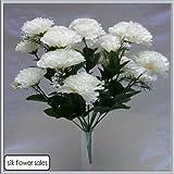 18 Kopf Weiße Nelke Kunstblume Strauß Hochzeit / Grab / Vase