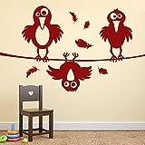 denoda® Drei kleine chaotische Raben - Wandtattoo Dunkelrot 45 x 25 cm (Wandsticker Wanddekoration Wohndeko Wohnzimmer Kinderzimmer Schlafzimmer Wand Aufkleber)