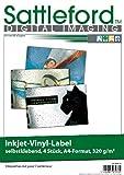 Sattleford selbstklebend: 4 Vinyl-Klebefolien für Inkjet-Drucker, wetterfest, DIN A4, weiß (Bedruckbare Selbstklebefolie)