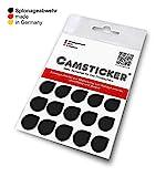 SPIONAGEABWEHR - 15 Stk. CAMSTICKER® XXL Ø15mm - SCHWARZ GLÄNZEND - Kamera Aufkleber für...
