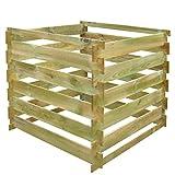 vidaXL Holz Kompostbehälter Holzkomposter Kompost Steckkomposter 90 x 90 x 85 cm