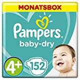 Pampers Baby Dry Windeln, für atmungsaktive Trockenheit, Gr. 4+ (10-15 kg), Monatsbox, 1er Pack (1 x 152 Stück)