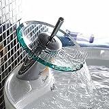Generic Waschbecken-Mischbatterie, Wasserfall, Glas, Messing verchromt Einhebel Wasserhahn
