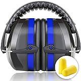 Kapselgehörschutz Sicherheit Ohrenschützer Ear Muffs SNR 36dB/NRR 34dB Von Fnova, ANSI S3.19&CE Zertifiziert, Größe stufenlos verstellbare Kopfbügel, geeignet für Erwachsene und Kinder,Super leicht, angenehm und kompakt (Edel Azur)