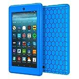 MoKo Hülle für All-New Amazon Fire 7 Tablet (7 Zoll - 7. Generation, 2017 Modell) - [Honey Comb Series] Leichte Rutschfeste Stoßfeste Silikon Schutzhülle Protector Case für das neue Fire 7 2017, Blau