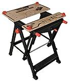 Black+Decker Workmate (Spanntisch und freistehende Werkbank in einem, Stahlkonstruktion bis 250 kg belastbar, Arbeitsplatte aus stabilem Bambus, einhändig bedienbar, verstellbar) WM1000-XJ