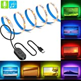 LED TV Hintergrundbeleuchtung USB, Minger 2m RGB Fernseher Bias Beleuchtung mit eingebautem MIC, wasserdicht 5050 LED Streifen Kit LED Strips Set mit Controller für HDTV LCD PC Desktop Heimkino