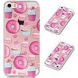 Linvei Hülle für Apple iPhone SE / 5 / 5S - TPU Silikon Backcover Case Handy Schutzhülle - Süße Cupcakes Donuts