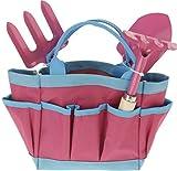 Kinder Gartengeräte Mini Gartenwerkzeuge Set 4 teilig, Kinderschaufel, Kinderrechen, Harke und praktische Tasche Farbe: rosa