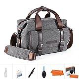 K&F Concept Kameratasche Messenger Tasche Fototasche für eine Systemkamera und zwei Objektiv M (inkl. 5 in 1 Reiniungsset)