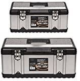 Werkzeugkoffer Set aus zwei Edelstahlkoffern - PROFI 18 + PROFI 23 - mit robustem Kunststoff-Rahmen, Stoßschutz an den Kanten, herausnehmbaren Werkzeugträger und Ablängvorrichtung, mit abschließbaren Metallverschlüssen