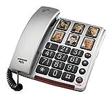 Audioline BigTel 40 Plus, Schnurgebundenes Großtastentelefon mit Bildwahltasten zum besseren Hören...