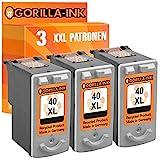 Gorilla-Ink® Gorilla-Ink® 3x Druckerpatrone XXL remanufactured für Canon PG-40 XL Schwarz Pixma IP 1300 1600 1700 1800 1900 2200 2500 2600
