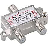 SAT & BK-Verteiler - 2-fach Splitter - voll geschirmt - unicable & HD tauglich [DUR-line D2FV -...