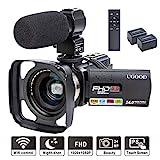 Videokamera UGOOD 1080P 24MP Full HD Camcorder mit Externem Mikrofon WiFi Fernbedienung Video Kamera...