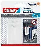 tesa Klebenagel für Tapeten und Putz / Selbstklebende Nägel für empfindliche Oberflächen / Leicht anzubringen und zu entfernen - rückstandslos / 2 x 2kg Halteleistung