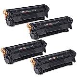 YHR Kompatibler Toner Ersatz für HP Q2612a 12a Canon, FX-10303103703Für HP Laserjet 1010101210151018102010223015M1005M1319F Canon LBP-Canon LBP-3000 4er-Packung