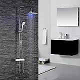 Homelody Duschsystem mit Thermostat Duscharmatur LED Rainshower Duschset Duschgarnitur Duschkopf Regendusche Handbrause Duschpaneel Duschstange Überkopfbrause Dusche Badewanne Armatur