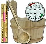 SAUNA SET 5tlg Kübel, Kelle, Sanduhr, Thermometer, Hygrometer Modell ELECSA 9991