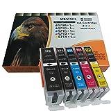 5 komp. XL Druckerpatronen für Canon Pixma TS5050 TS5051 TS5053 TS5055 TS6050 TS6051 TS6052 TS8050 TS8051 TS8052 TS8053 TS9050 TS9055 1 x schwarz 1 x photoschwarz 1 x blau 1 x rot 1 x gelb