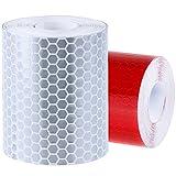 Rovtop Reflektorband Klebeband für Sicherheit Warnklebeband Sicherheit Markierung Band Silberweiß und Rot 2 Rolle 5*300cm