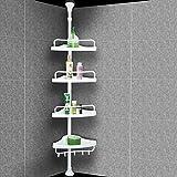 Badregal Duschablage Eckregal Bad Teleskop Regal Duschecke - 4 Ablagen - ohne Bohren - rutschfester Fuß - variabel verstellbar von 155 bis 285 cm - Farbe: weiß