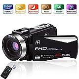 Videokamera 1080P 30FPS Camcorder Full HD Tragbare IR-Nachtsicht-Videokamera 24,0 MP Unterstützt...